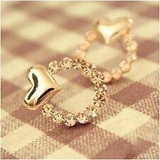 Lovely Hot Women Rhinestone Love Heart Shape Gold Crystal Ear Stud Earrings Gift
