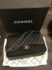 100% AuthentIc CHANEL Medium Black Caviar Classic Double Flap Bag 2.55 Silver