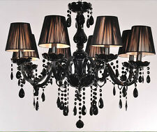 8 Lights Black Murano Glass Crystal Chandelier Light LED Pendant Lamp Ceiling