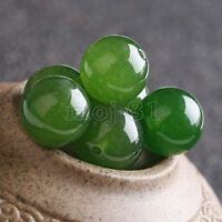 4/6/8/10/12/14mm Natural Nephrite Green Jade Round Gemstone Loose Beads 15'' AAA