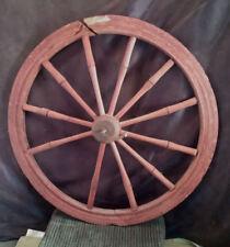 "Wooden Spoke Wheel w/ Metal Axle from Antique Spinning Wheel 21"" Diameter Repair"