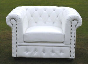 Brand New Chesterfield Tub/Armchair Matt PU Leather White with Crystal Diamanté.