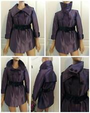 BURBERRY London Belted Short Trench Coat Shiny Jacket Sz. 6 8 40 Eggplant Purple