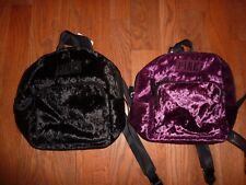 """VICTORIAS SECRET PINK """"PINK"""" VELOUR MINI BACKPACK ZIP BOOK CHOICE NWT"""
