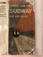 Rare 1961 Official New York Subway Map and Guide