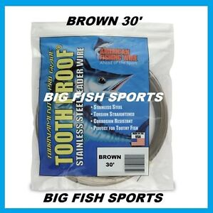 AFW TOOTH PROOF STAINLESS STEEL LEADER-Single Strand Wire-58LB Test 30FT BROWN