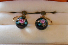 Vintage 1/20 12K GF Miniature Glass Paperweight Button Pink Roses Earrings