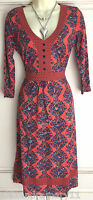 New Ex M&S Orange Blue Print Jersey Floral Tie Back Tea Dress 8 - 18