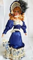 Porcelain Doll Victorian Style with Bonnet Blue Satin Dress with White Lace 18""