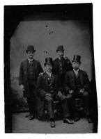 Tintype Photograph Group of Men Wearing Top Hats, One Smoking Cigar