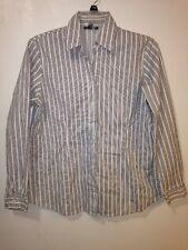 Mame Maternity Medium White Black Striped Long Sleeve Button Front Career Shirt