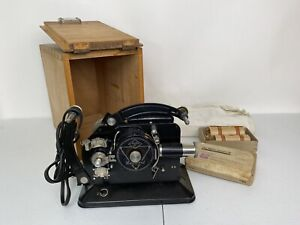 AGFA Record 16mm Projector - Vintage 1930s w/ Locking Case, Screen & Bulbs RARE