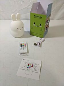 LED Nursery Night Lights USB Rechargeable Bunny Silicone Lamp Touch Sensor Works