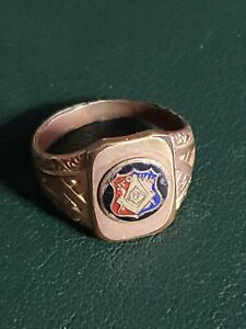 Masonic Junior Order United American Mechanics 1/10 14k Yellow Gold Shell Ring