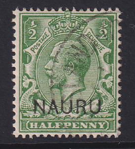 NAURU  1916: f/used ½d yellow-green KGV SG #1 cv £10 · 2 images