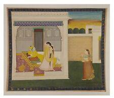 Indian Handmade Miniature King & Nude Queen Dancing Scene Paper Painting Décor