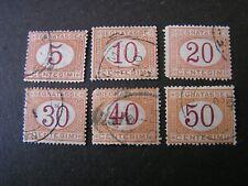ITALY, SCOTT # J5-J10(6), 5c+10c+20c+30c+40c+50c POSTAGE DUE 1870-1925  ISS USED
