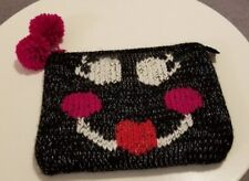 FELIX REY Knitted Exterior Smiley Face Zippered Pouch - Fully lined