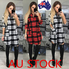 AU Women Plaid Shirt Mini Dress Casual Long Sleeve Tartan Romper Cocktail Dress