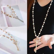 Woman Long Chain Pearl Crystal Rhinestone Key Pendant Necklace Fashion Jewelry