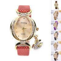 Fashion Women Bracelet Bangle Leather Crystal Dial Quartz  Analog Wrist Watch GD