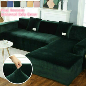 Elastic Velvet Plush Sofa Cover Corner Sectional Couch Cover L Shape 1-4 Seaters