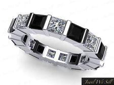 2.00Ct Princess Cut Black Diamond Bar Set Wedding Eternity Band Ring 14k I SI2