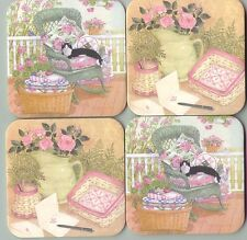 Longaberger Hope Basket Cat Flowers Butterflies Wicker Chair Coasters Free ship