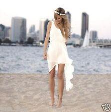White Ivory Beach Wedding Dress Short Bridal Gown Custom Size 4 6 8 10 12 14 16+