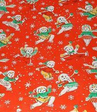 VTG CHRISTMAS WRAPPING PAPER GIFT WRAP SKATING SNOWMEN ON RED 2 YARDS WW2 1940