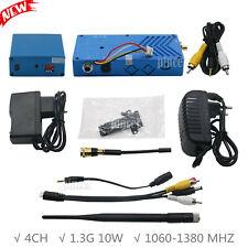 10W 1.3G 4CH Wireless Audio Video CCTV FPV Transmitter Transceiver Receiver Kit