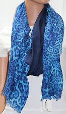 NWT Calvin Klein Blue Animal Print Wrap Scarf A4WS2567 78x40