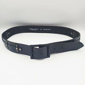 Politix Mens Size 38 Black Creased High Shine Genuine Leather Studded Wide Belt