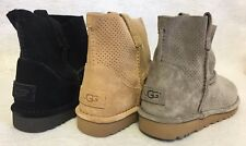 UGG Australia Unlined Classic Mini Perf Suede Boots 1016852 Black Mole Tawny