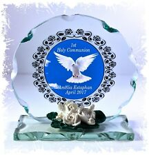 Personalised 1st Holy Communion Dove Round Crystal cut Glass Plaque gift   #6
