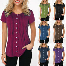 Womens Short Sleeve Button Down Shirts Tunic Tops Plus Size Solid T Shirt Blouse