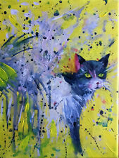 PAINTING by ADA - COLORED CAT - 18 x 24 cm. - dipinto quadro acrilico
