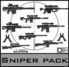 "Custom Sniper Rifles Lot Scale 2"" Accessories pack designed for LEGO® Minifigure"