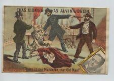 Viktorianische Trade Card Charles L. Davis als ALVIN JOSLIN Schauspiel