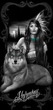 Harmony Native Princess Wolf Black DGA Beach Towel Bath Towel 30x60in