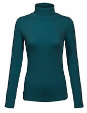 Women's Turtleneck Long Sleeve Cotton Basic Solid Fitted Shirt with Stretch SML