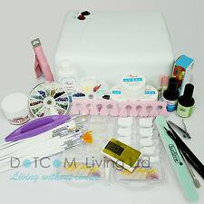 36w Lamp Light Cure UV GEL Polish Nail Art Tip Dust File Buffer Kits Orange