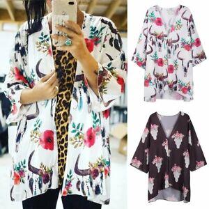 Boho Women Floral Print Long Kimono Cardigan Cape Beach Tops Bikini Cover Shirt