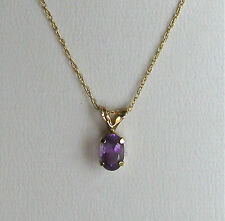 """10K Yellow Gold Oval Amethyst Pendant & Chain--18""""--Free Shipping!"""