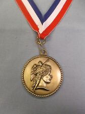 "achievement medal 2"" dia gold with patriotic neck ribbon"