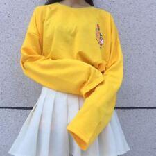 Women Kpop Harajuku Female Loose Long Sleeve Cartoon Yellow Top T-shirts kfc