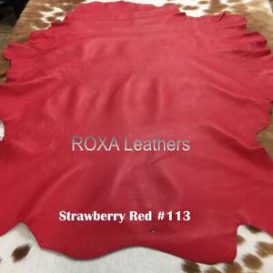 ROXA Red Soft Genuine Lambskin 100% Hide Sheep Nappa Leather Skin Crafted 6 SqFt