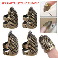 4x Sewing Thimble Adjustable Finger Protector Shield Pin Needles Tool Home Craft