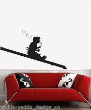 """WALL - Banksy - Bubble Girl on Pipe - Wall Vinyl Decal (35""""w x 22""""h)BLACK, Right"""