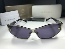Nice!! Versace 2205 Pale Gold Metal 1252/1A Cat Eye Sunglasses W/Violet Lens